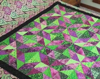 Full Size Quilt. Bodacious Bohemian   Abstract kale design in vivid greens and raspberries.  FULL Bedspread. Bed Covering. Quiltsy Handmade.