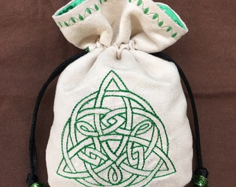 CELTIC KNOT TRIQUETRA - Faux Suede Drawstring Pouch with Machine Embroidery for Dice, Runes, Tarot Cards