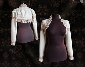 Bridal shrug off white, beige nude, Victorian bolero, cottage chic, Somnia Romantica, size small, see item details for measurements