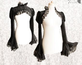 Shrug black lace, victorian steampunk bolero, goth, Devia, Somnia Romantica, size small, see item details for measurements