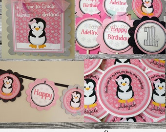 Penguin Party Package -Party Bundle -Penguin Birthday -First Birthday -Baby Shower -Banner Party Sign, Favor Tags Cupcake Topper, Onederland