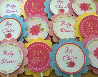 Cupcake Toppers -Shabby Chic Cupcake Toppers -Baby Shower -Birthday- Bridal Shower -Roses -Pink -Yellow -Blue, Set of 12, Personalized
