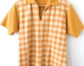 60s Mod Blouse / Mod Polo Shirt / Mustard Plaid Collared Shirt / Checkered Polo / Mustard Collared Shirt / Color Block Retro Knit Top Unisex