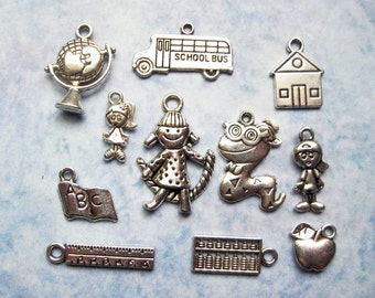 School Charm Collection in Silver Tone - C1732