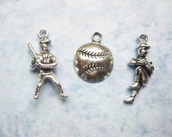 6 Baseball Charms in Silver Tone - C2428