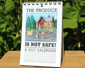 2017 Calendar: The Produce is Not Safe - an illustrated calendar with bunny rabbits