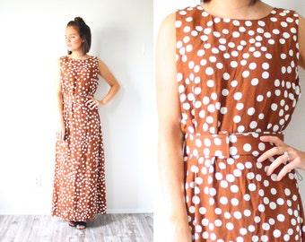 "Vintage brown polka dot dress // summer maxi polka dot dress // polka dot dress // ""pretty woman"" movie dress // sleeveless retro 80's dress"