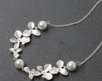 Wedding Necklace, Bridesmaid Gift, orchid necklace, White Wedding Jewelry, Bridesmaid Necklace, Bridal necklace, silver necklace