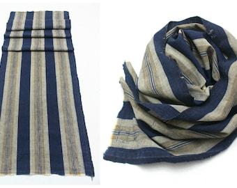 Japanese Artisan Hand Loomed Ikat Cotton. Antique Indigo Folk Textile. Vintage Scarf or Supply Fabric (Ref: 1263-1266)