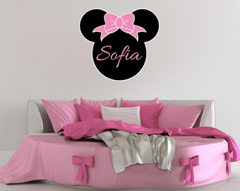 Minnie Mouse Inspired Wall Decal - Personalized Name - Vinyl Sticker Girls Bedroom Wall Decor - WD0412