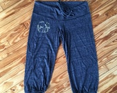 SALE Cropped Pants, Elephant Pants, Yoga Pants, Size XL