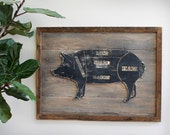 Butcher Pig Sign Wooden Framed Butcher Shop Meat Chart Wooden Kitchen Wall Decor