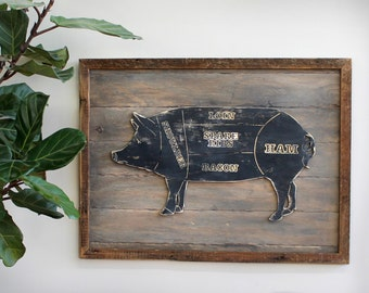 Framed Butcher Pig Sign Wooden Framed Butcher Shop Meat Chart Wooden Kitchen Wall Decor