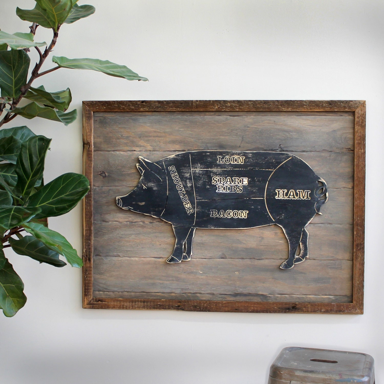 Pig sign kitchen wall decor butcher diagram pig wall decor pig Pig kitchen decor
