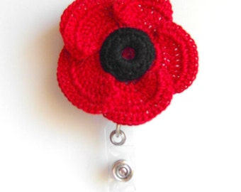 ID Badge Holder Poppy Seed Crocheted Flower Retractable ID Reel