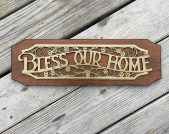 Bless Our Home Wall Hanging Wood Sign