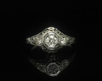 18K Art Deco Diamond Ring 1/3 TCW Engagement Ring White Gold Orange Blossom Milgrain Scroll Mount Size 8.75
