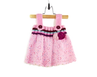 Knitted Baby Dress - Pink, 6 - 9 months