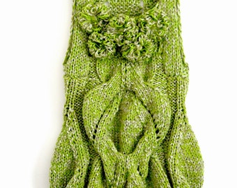 Green Sleeveless Dress knitting pattern (how to make)