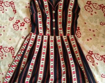 Vintage 50s shirt dress rose print S M
