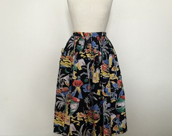 Vintage 40s 50s full skirt with novelty print