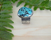 Bold adjustable turquoise ring, silver ring, cocktail ring, bohemian jewelry, statement ring