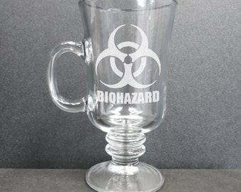 Set of Two Etched Cappuccino, Coffee Glasses, Biohazard, Fallout Shelter, High Voltage, or Skull Design