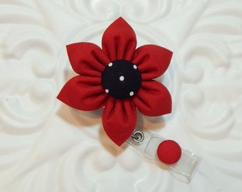 Retractable Badge Holder - ID Badge Reel -  Flower Id Badge Reel - Dark Red With Black And White Polka Dot