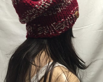 Knit Slouchy Hat Beanie Dark Red & White Striped With A Wood Button Warm And Cozy
