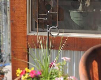 recycled metal sculpture, modern garden art, metal garden sculpture, metal plant stake, abstract garden art, rusty metal garden art
