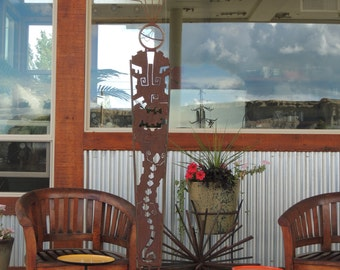 primitive sculpture, metal outdoor sculpture, Shaman garden sculpture, rusty garden art, metal garden sculpture, indoor outdoor sculpture