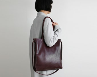 Multi-functional Leather Tote Bordeaux,  leather shopper, crossbody bag, big shoulder bag