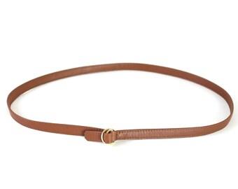 Slim Leather Belt Nut Brown, minimalistic belt