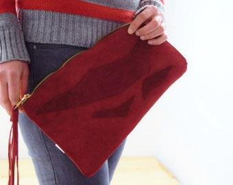 Suede purse, leather purse, leather clutch, leather pouch, red purse,red clutch, suede red purse, suede red pouch,red leather bag