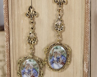 Bel Amour- Beautiful Love- Vintage French Courting Scene Couple- Blue Edwardian Costumes- Upcycled Assemblage Earrings- Gold Plated