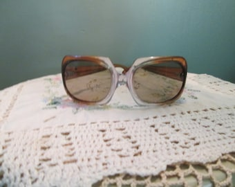 80s Oversized Faded Peach Sunglasses / Vintage Women Sunglasses France