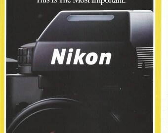 1992 Advertisment Nikon Camera Beginner to Pro Macro Close Up Logo 35mm SLR Film Camera Photography Wall Art Decor