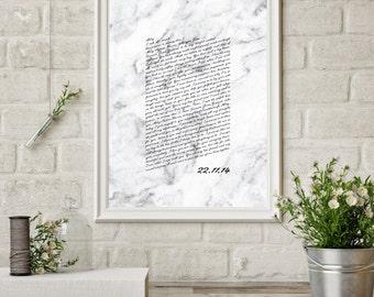 Wedding Vows Keepsake Print for Newlyweds & Anniversaries - Marble Script