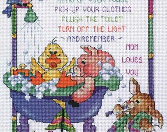 Janlynn Cross Stitch Kit Bath Time Rules Counting Cross Stitch