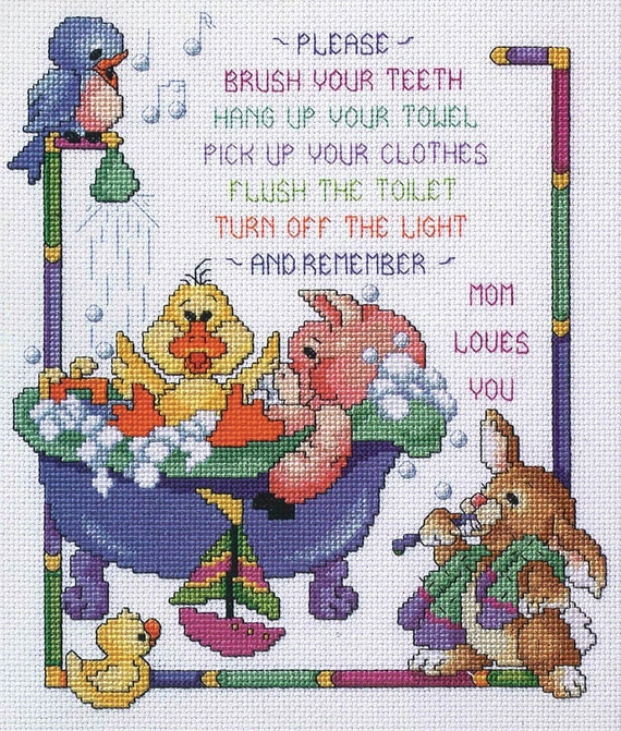 Items similar to janlynn cross stitch kit bath time rules for Bathroom cross stitch patterns free