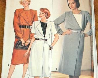 Butterick 6753 Dress with Contrast Fold Back Lapel, Women's Misses Vintage 1980s Sewing Pattern Size 12-16 Bust 34-38 Uncut Factory Folds