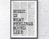 Spring Sale Music Wall QUOTE Wall Saying Music Wall Art, Music Art poster, Gift for Music Lover,  Room Decor Rock n Roll BPTQ053