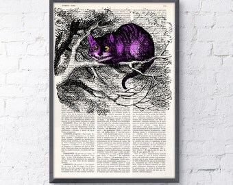 Summer Sale Alice in wonderland- Cheshire cat book print- Alice in Wonderland Collage Print on Vintage Dictionary Book art ALW039