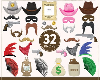 Printable Western Photo Booth Props | 32 Printable Cowboy Props | Instant Download | Western Party Props