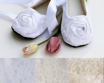 White Toddler Flower Girl Shoe, Easter Baby Ballet Slipper, Toddler Lace Wedding Shoe, Girls Dress Shoe, Christening Shoe, Baby Souls Shoes