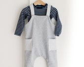Baby romper overalls. Organic cotton blend heather gray stretch french terry. Sizes from 6 months to 3T. Made to order.