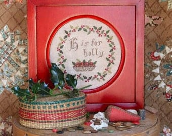 25% OFF SALE H is for Holly Christmas cross stitch pattern Alphabet Series #3 by Heartstring Samplery at thecottageneedle.com holidays