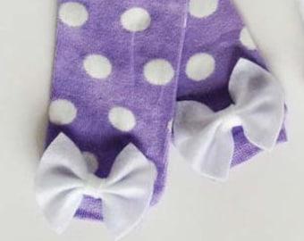 Lavender Polka Dot Baby Leg Warmers, Bow Leg Warmers