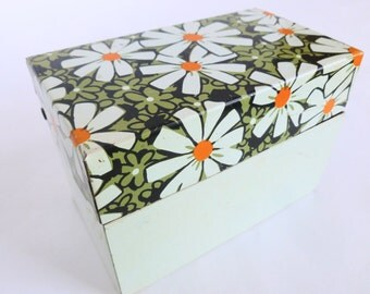 Metal Recipe Card File Box by J Chen Daisy Daisies Print Tin Litho Lithograph