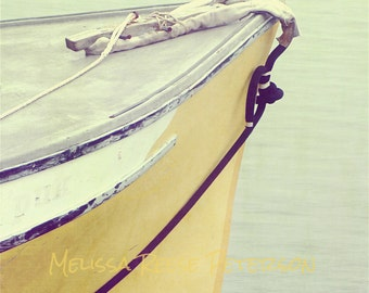 Ship's Prow, Maine Photography, Fine Art Print, Yellow Boat, Bar Harbor, Ropes, Nautical Wall Art, Beach Cottage Decor